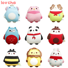 Lovcha 30*34cm cute adorable panda Papa bee penguin lion owl pig nano foam particle pillow panda birthday gift plush toy doll