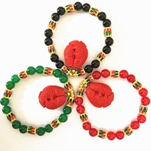 Charms vintage black red green semi-precious round chalcedony jades bracelet cinnabar fish pendant beads gold-color jewels B1410