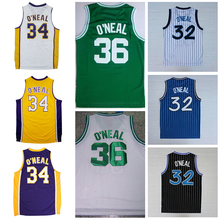 New 32 Shaquille O'Neal Jersey Throwback Black White Blue Green Yellow Purple 34 Shaquille O Neal ONeal basketball Jerseys Shirt(China)