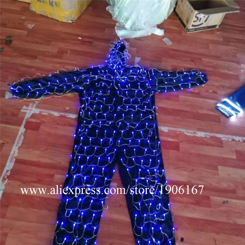 Colorful led luminous robot suit stage perfromance costume08