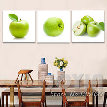 3 Panel Painting Canvas Dinning Room Wall Decor Art Picture Fresh Green Apple Poster Prints Kitchen Cupboard Decoration No Frame(China)