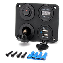 12V Car Cigarette Lighter Socket +Dual USB Adapter Charger+Digital Voltmeter+Switch