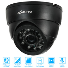 KKmoon CCTV Surveillance DV DVR Dome Camera 0.3MP VGA 24 IR LEDs Night Vision USB Disk PC Cam Support Audio TF Card Loop Record(China)