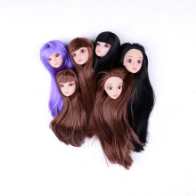 fashion 3D Eyes Doll Head Long Colorized Straight Hair Doll Head Doll Accessories kids gifts without the body(China)
