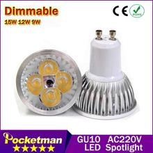 High power CREE Led Lamp Dimmable GU10 9W 12w 15w 85-265V Led spot Light Spotlight led bulb downlight lighting zk90(China)