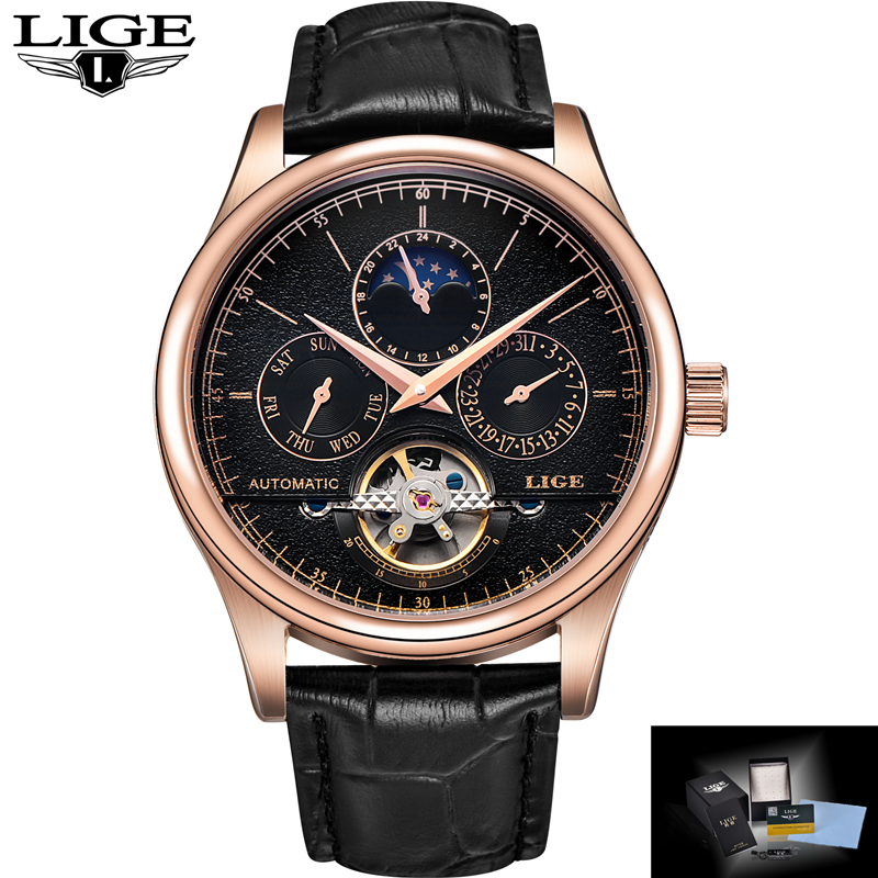 LIGE Brand Mens Watches Six-pin Moon phases Automatic Watch Men Dive 50M Fashion Casual Leather Wristwatches relogio masculino<br>