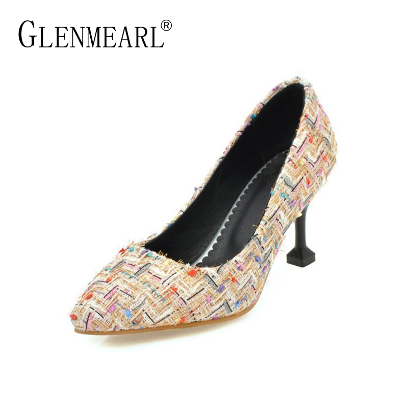 2018 Brand High Heels Shoes Women Pumps Sexy Plus Size Pointed Toe Single Pumps Woman Thin Heels Office Ladies Work Shoes DE<br>