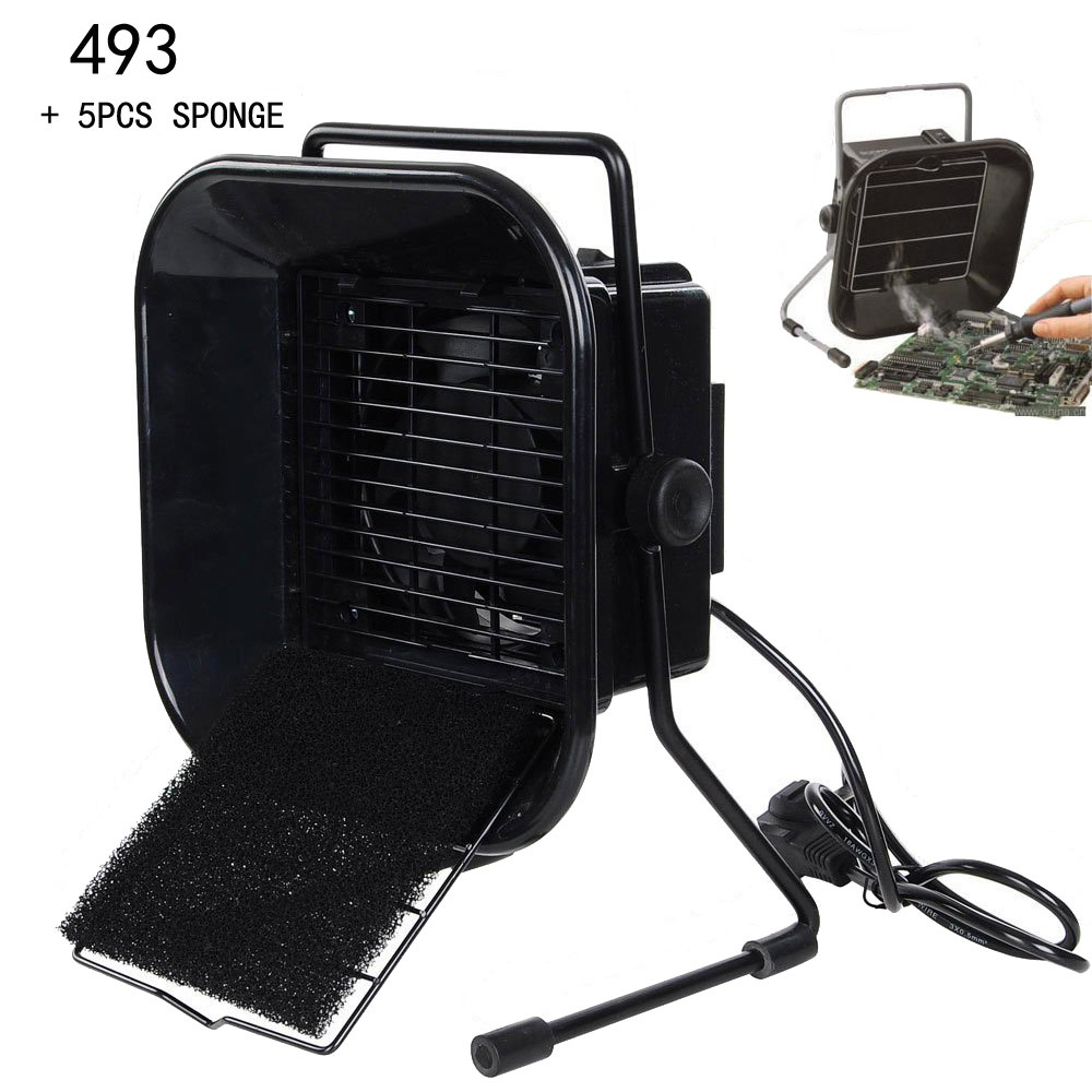 220V EU/US Plug  493 Solder Smoke Absorber ESD Fume Extractor with 5 free Activated Carbon Filter Sponge<br>