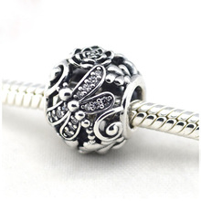 Fits Pandora Bracelet Dragonfly Meadow Silver Beads With CZ Original 925 Sterling Silver Charms DIY Fine jewelry