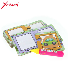 Water Magic Drawing graffiti transportation words card with 1 Magic Pen Cognitive Painting Board Educational toys
