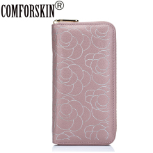 COMFORSKIN New Arrival Fashion Rose Flower High-end Market Women Purse Large Capacity Practical Genuine Leather Women Wallet(China)