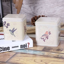 Free Shipping! 2pcs/set Free Bird Painting Tea Box Metal Storage Case cookies Can Home Decor Gift Box Chocolate Storage Case