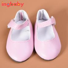 Pink Doll Mini Leather Shoes Suitable 18 Inch American Girl Doll Shoes Girls Dress Up Doll Game Simulation Sandal ingbaby WJ1095