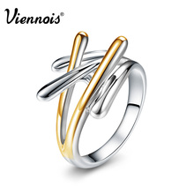 Viennois Brand New Fashion Jewelry Gold & Silver Color Cross Rings For Women Size 7 8 9 Female Party Finger Ring(China)