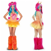 Halloween Cosplay Costumes Women Sexy Animal Cos Set Colorful Monster Dress Hat Footstraps 3Pcs Set Deguisement For Carnaval(China)