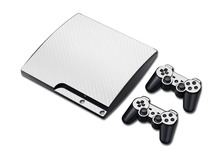 Free Shipping 100% New Carbon Fiber Sticker For PS3 Slim Game Console And 2 Controller Skins Sticker Bomb For PlayStation 3 Slim