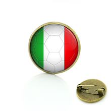 Unique design Summer Italy Football picture glass art brooches soccer game pins Antique badge for men women clothes jewelry D707