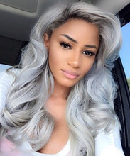 Dark Root Ombre silver grey Long Wavy Wig Black/ Gray Lace Front Wig  Synthetic Lace Wigs For Black Women