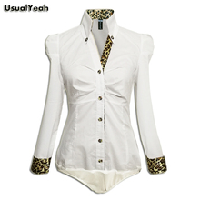 UsualYeah New 2017 Women Fashion Casual OL Long Sleeve Button Body Shirt Blouse Leopard & Plaid Collar Bluas White S-XL SY0073(China)
