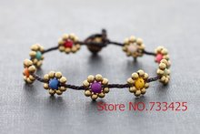 Daisy Candy Brass Braided Bracelet Handmade woven wax cord bracelet thai style brass bell closure women bracelet(China)