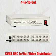 4 In 16 Out Composite CVBS BNC Video Distributor for CCTV Security Camera DVR System 4CH to 16CH Signal Video Splitter Amplify