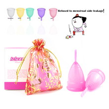 Reusable Menstrual cup medical grade silicone/lady period cup/Diva Cup/alternative tampons sanitary pads Feminine hygiene vagin(China)