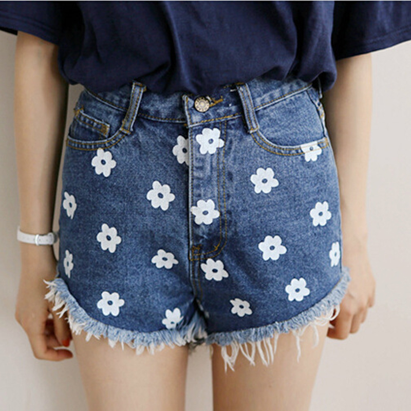 2017 trade retro tassel edge small flower printing high-waist slim denim shorts loose hot pantsОдежда и ак�е��уары<br><br><br>Aliexpress