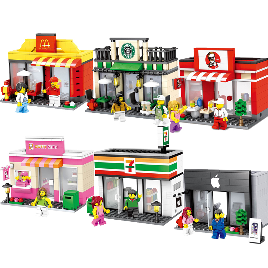 Mini City Street Scene Coffee Shop Retail Convenience Store Architecture Building Blocks Sets Model Toys For Children