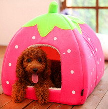 NUOYUFAN New Soft Pet Dog Cat Rabbit Bed House Kennel Doggy Warm Cushion Basket Leopard Strawberry Colored Dog Houses S-XXL