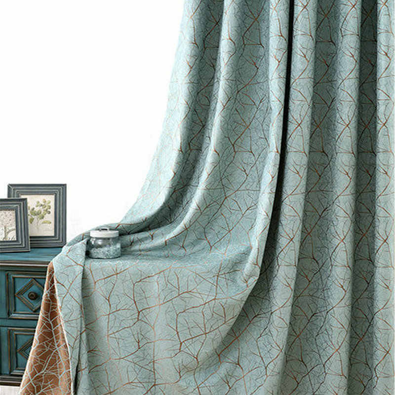 Modern Chenille Blackout Curtains Double-sided Tree Stripes Pattern Jacquard Curtains for Bedroom Window Simple Style