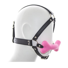 Buy dog bone type silicone mouth gag head bondage leather harness belt bdsm fetish slave restraints sex toys gags adult games