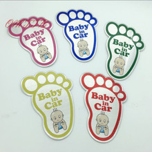 5 Color 3D Aluminum Baby in car sticker Reflective Warning Decal Waterproof Window Vinyl Cover Blue Red Pink Green car styling(China)