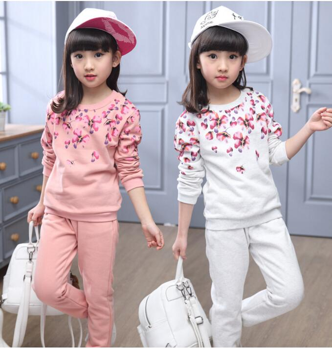 2017 New Spring&amp;Autumn Girls Clothing Set Floral Printed Kids Suit Set Casual 2PCS Sport Baby Girl Clothes Tracksuit children<br><br>Aliexpress