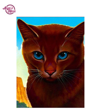 ANGEL'S HAND Round mosaic embroidery colorful painting brown cat crafts diamond painting 5D diamond pattern cross stitch