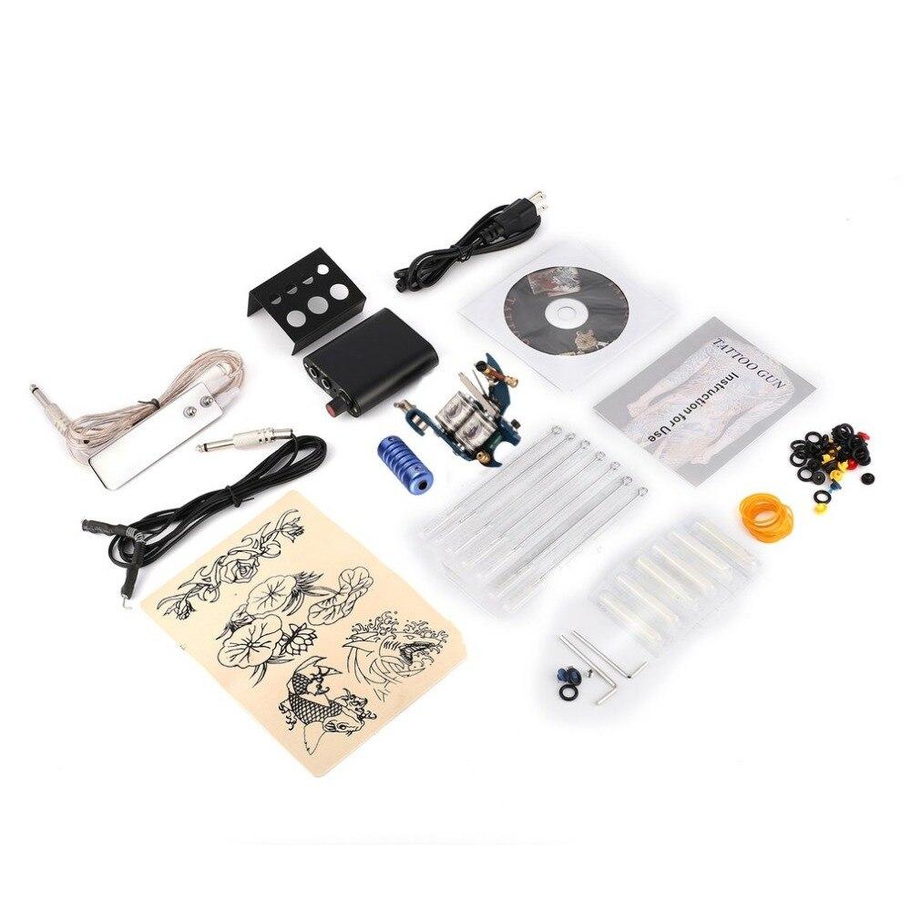 Professional WZX-J004 Beginner Tattoo Machine Set Complete Tattoo Kit Tattoo Gun Needles Power Supply Cord Body Tattoo<br>