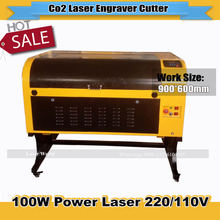 6090 100W laser cutter machine 900*600mm Laser Engraving with free rotary 110V/220V USB Interface EXW Price