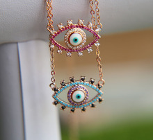 Pave CZ 2017 new arrive demon eyes silver pink blue color gold rose pave cz necklace fits summer girl women choker necklace
