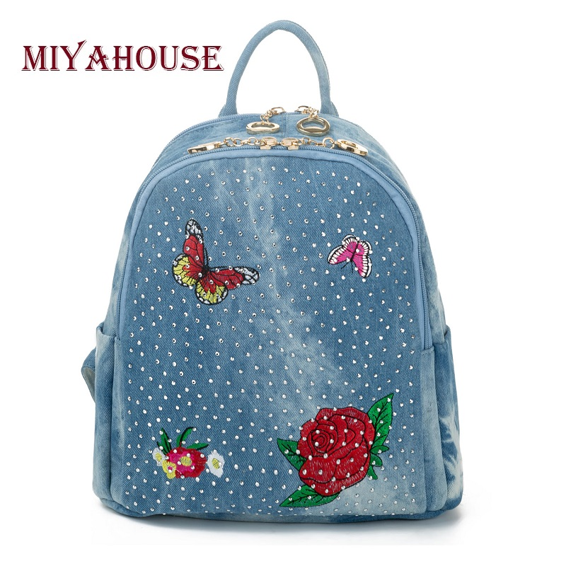 Miyahouse Casual Denim Backpack Women Butterfly And Floral Printed Backpack For Teenager Rivet Design Travel Rucksack Lady<br>