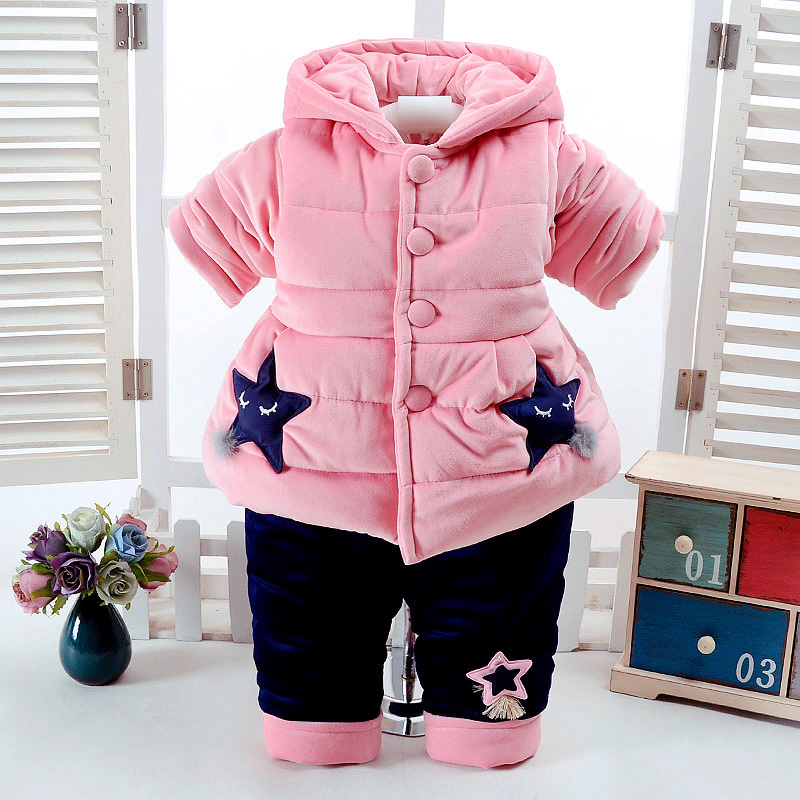 2Pcs/Set Winter Baby Girls Clothes Newborn 0-2 Years Add Cotton-Padded Super Warm Long Sleeve+Pant Infant Set Purple Star Design<br>