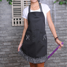 Cute Princess Style Dots Pattern Falbala Kitchen Cooking Apron Women Ladies Apron with 2 Bowknot Pockets (Black)