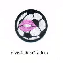 1Pcs Football Kiss Embroidery Patch for Clothing Iron on Embroidered Sew Fabric Badge Garment DIY Apparel Applique Accessories