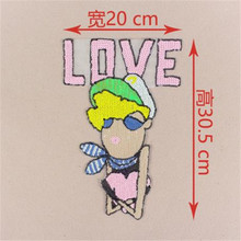 Embroidered clothing sequins cartoon LOVE patches for clothes deal with it  bike patch patchwork cotton fabric new year gifts