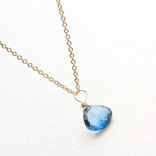 PINJEAS  Crystal Necklace/Delicate quality Natural Simple blue Crystal Rock handmade Retro Trend pendant jewelry