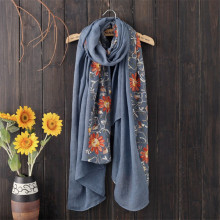 New Autumn Winter Nepal Style Embroidered Scarf Women High Quality Warm Soft Scarves Female Flower Cotton Shawls Wraps 180*90 cm