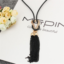 Sweater Long Style Necklace Tie Neck Exaggerated Women Tassel Rope Chain Hanging Feminino Collar(China)