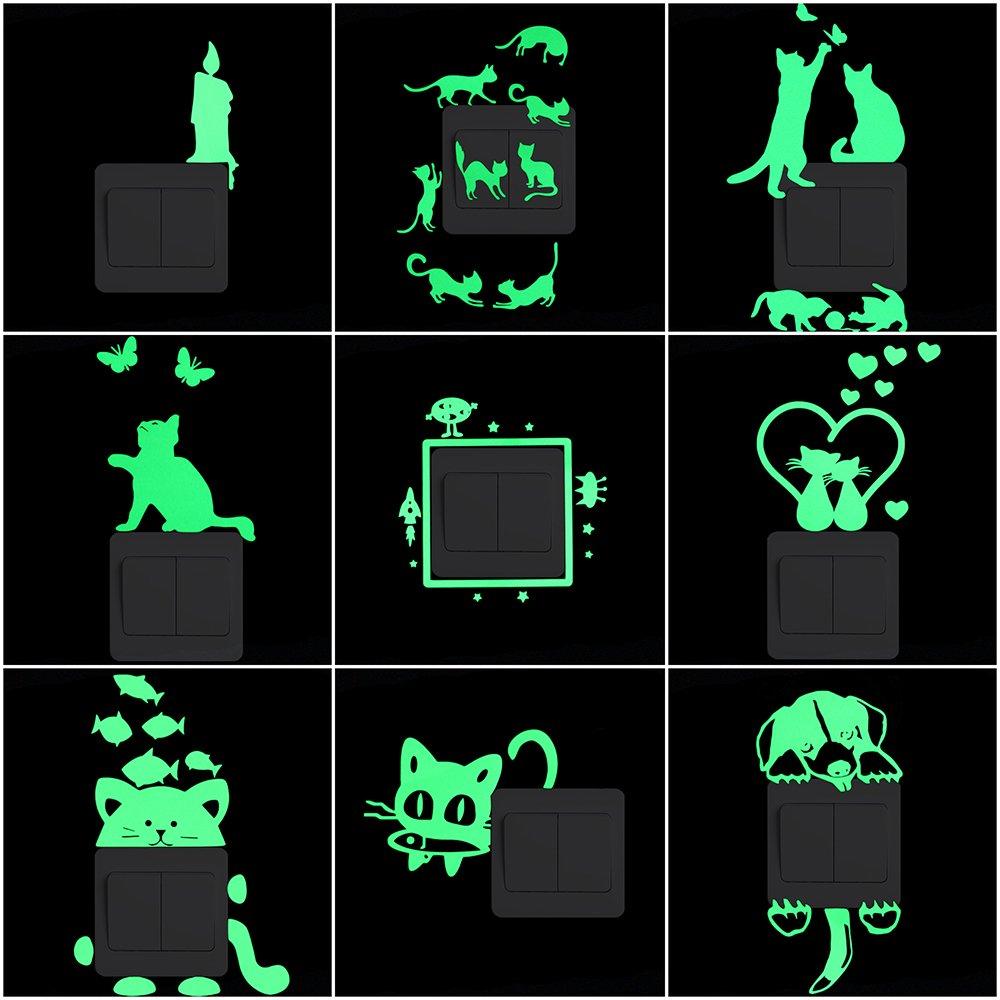 New Luminous Cartoo Switch Sticker Glow In The Dark Wall Stickers Home Moon Star