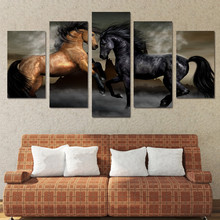 HD Printed 5 piece canvas art black brown horse painting wall pictures for living room wall art Free shipping(China)