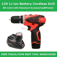 SD-1213 12V Li-ion Battery Cordless Drill/ Electric Drill with Standard Accessories&Pocket(China)