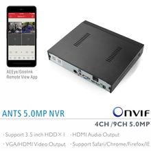 ANTS Factory Direct 4CH / 9CH 5MP 4MP 3MP NVR with AEEye and Goolink P2P App live view and playback support HDMI Audio output
