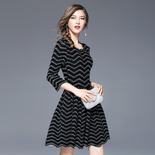 Buy Autumn women 2017 seven points sleeves wave collar fold thin waist knit dress word short oodji club Sexy dress SZOS97086 for $32.52 in AliExpress store